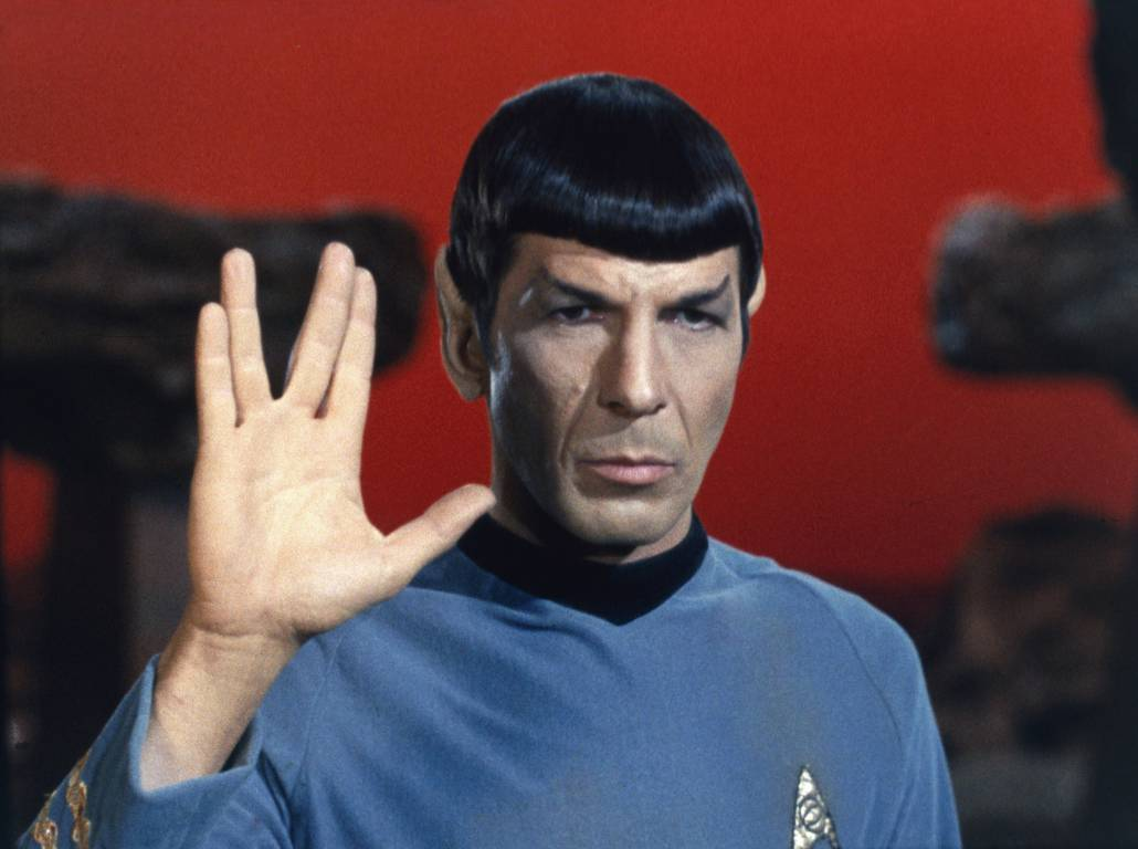Spock from Star Trek doing the Vulcan Salute